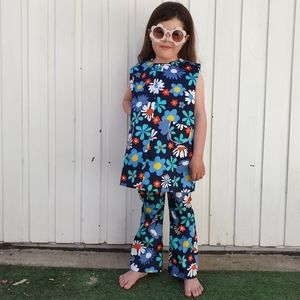 Vintage 60s DESDSTOCK Set Flower Power Cotton Tunic Dress Flares Approx. 6 YEARS